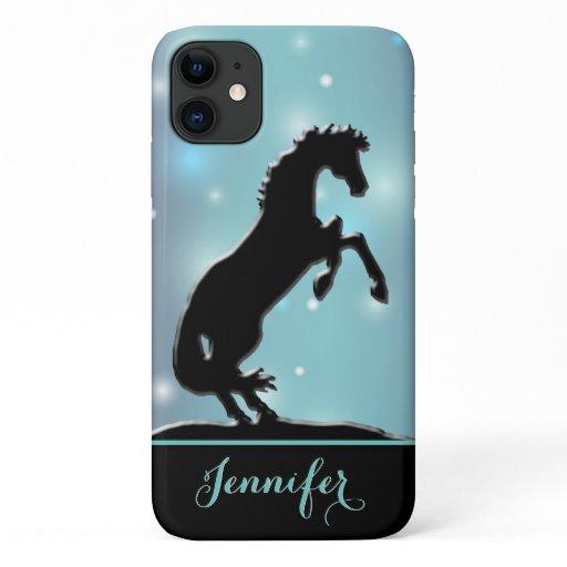 Heart Horses V (blue-green sparkles) iPhone 11 Case