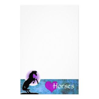 Heart Horses V (blue/green) Stationery