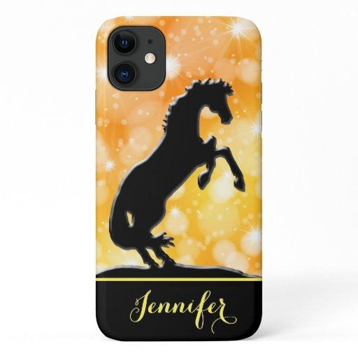 Heart Horses V (golden stars) iPhone 11 Case