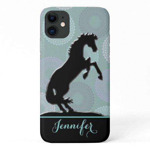 Heart Horses V (green circles) iPhone 11 Case