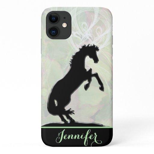 Heart Horses V (green misty fractal) iPhone 11 Case