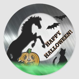 Heart Horses V Halloween Classic Round Sticker