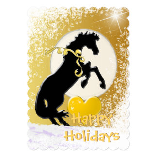 Heart Horses V Holiday (Golden Stars) Card