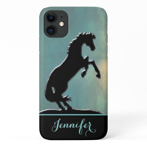 Heart Horses V (misty yellow green) iPhone 11 Case