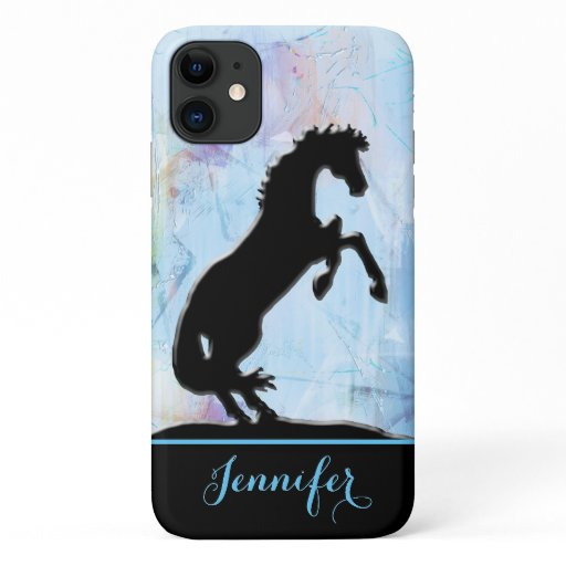 Heart Horses V (painted blue abstract background) iPhone 11 Case