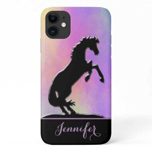 Heart Horses V (purple and yellow) iPhone 11 Case