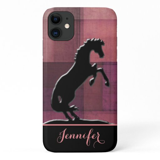 Heart Horses V (soft red squares) iPhone 11 Case