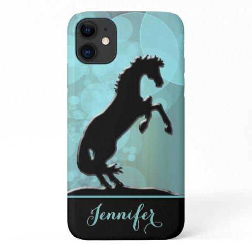 Heart Horses V (teal bubbles) iPhone 11 Case