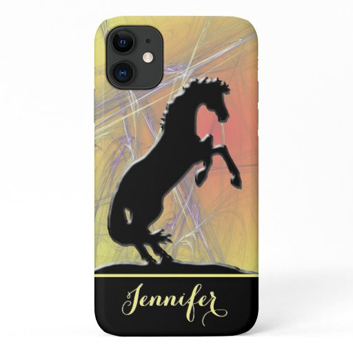 Heart Horses V (yellow-orange abstract background) iPhone 11 Case