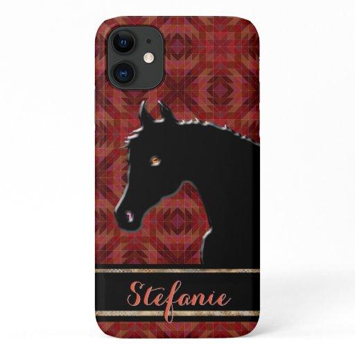 Heart Horses VIII (maroon) iPhone 11 Case