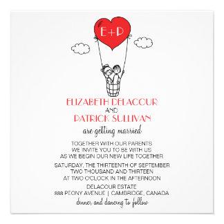 Heart Hot Air Balloon Doodle Wedding Invitation
