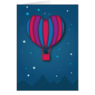 Heart Hot Air Balloon Valentine's Day Card