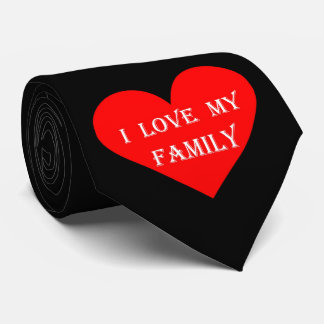Heart I Love My Family Neck Tie