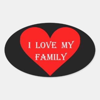 Heart I Love My Family Oval Sticker