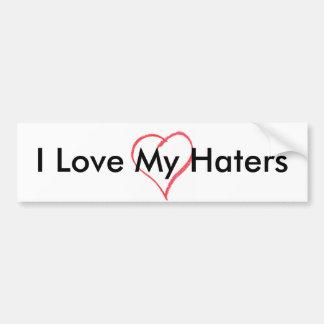 heart, I Love My Haters Car Bumper Sticker