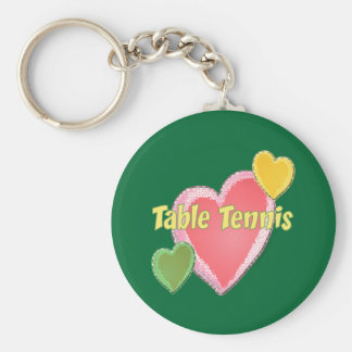 Heart I Love Table Tennis Basic Round Button Keychain