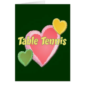 Heart I Love Table Tennis Stationery Note Card