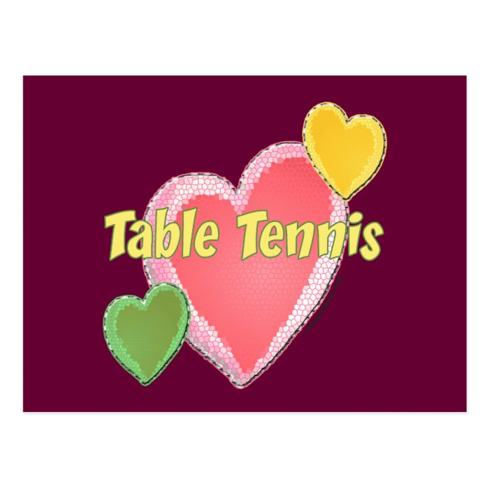 Heart I Love Table Tennis Postcard