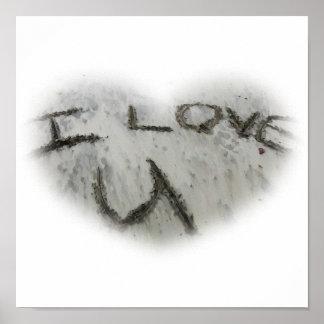 Heart I Love U In The Sand Print