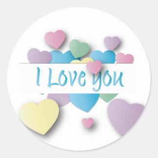 heart i love you classic round sticker