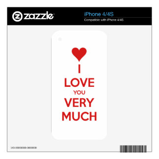 HEART I LOVE YOU SO MUCH SHOUTOUT SAYINGS COMMENTS iPhone 4 SKIN