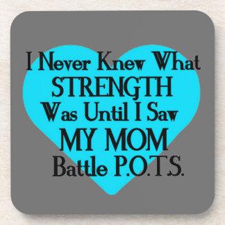Heart/I Never Knew...Mom...P.O.T.S. Drink Coaster