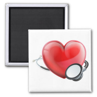 Heart Icon and Stethoscope Concept Magnet