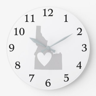Heart Idaho state silhouette Large Clock
