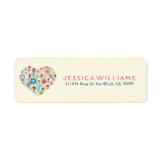 Heart Illustration With Colorful Assorted Flowers Label