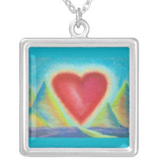 Heart image necklace square pendant necklace