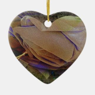 Heart Image Peachy Rose Christmas Tree Ornament