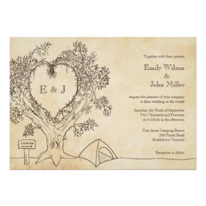 Heart in a Tree Camping Wedding Invitations