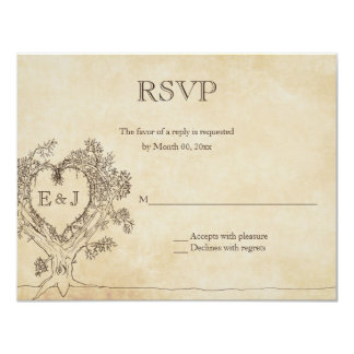 Heart in a Tree Wedding RSVP Response Cards Personalized Invitation