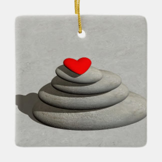 Heart in balance - 3D render Ceramic Ornament