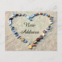 Heart in Beach Sand New Address Announcement Postcard