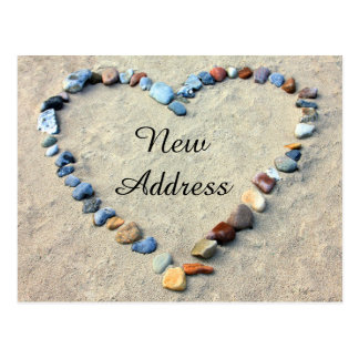Heart in Beach Sand New Address Postcard