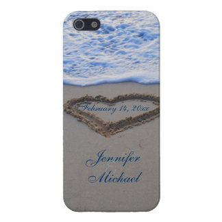 Heart in Beach Sand  Special Date iPhone 5 Cases