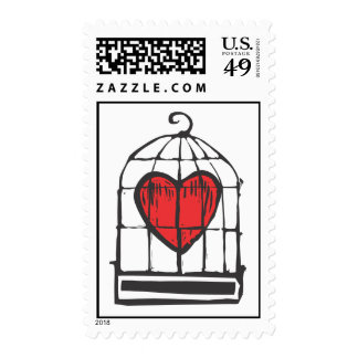 Heart in Cage Postage Stamps