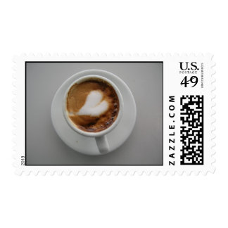 Heart in cappucino in Rome Postage