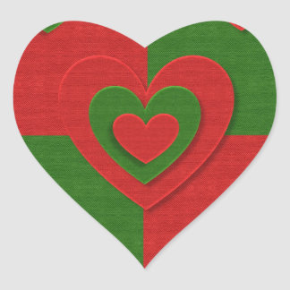 Heart in Christmas Colors Red Green Felting Look Heart Sticker