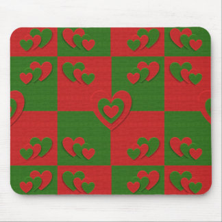 Heart in Christmas Colors Red Green Felting Look Mouse Pad