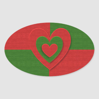 Heart in Christmas Colors Red Green Felting Look Oval Sticker