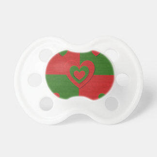 Heart in Christmas Colors Red Green Felting Look Pacifier