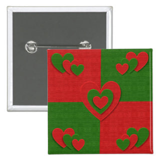 Heart in Christmas Colors Red Green Felting Look Pinback Button