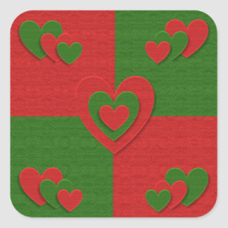 Heart in Christmas Colors Red Green Felting Look Square Sticker