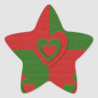 Heart in Christmas Colors Red Green Felting Look Star Sticker