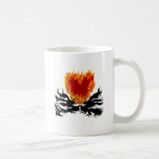 Heart in flames coffee mug