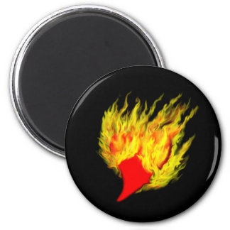 Heart in flames 2 inch round magnet