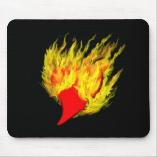 Heart in flames mouse pad