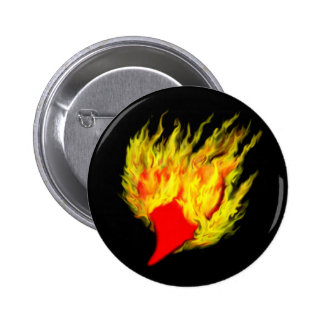 Heart in flames pinback button
